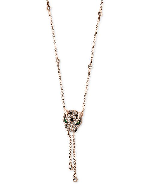 EFFY Collection Signature by EFFY® Diamond (1/3 ct. t.w.) and Tsavorite Accent Panther Lariat Necklace in 14k Rose Gold