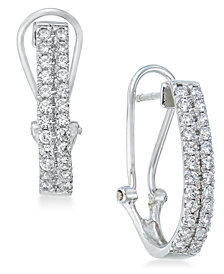 Diamond J-Hoop Earrings (1 ct. t.w.) in 10k White Gold