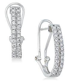 Diamond J-Hoop Earrings (1 ct. t.w.) in 10k White Gold