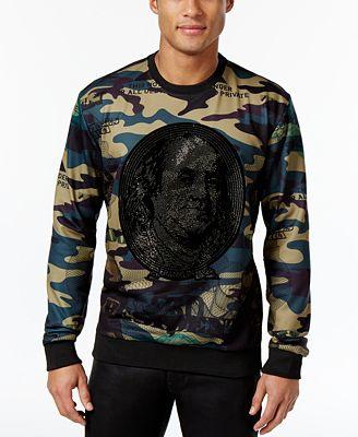 Hudson NYC Men's Embellished Ben Franklin Camo Shirt