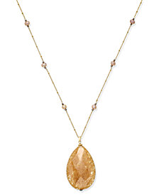 Paul & Pitü Naturally 14k Gold-Plated Cultured Freshwater Pearl and Stone Pendant Necklace