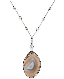 Paul & Pitü Naturally Silver-Tone Multi-Stone and Cultured Freshwater Pearl Pendant Necklace