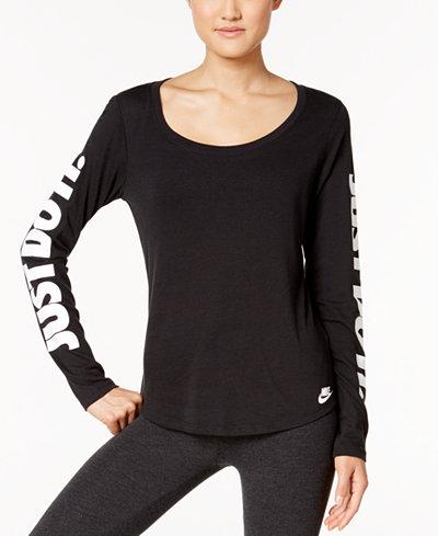 Nike just do it long sleeve t shirt tops women macy 39 s for Nike just do it t shirt women s
