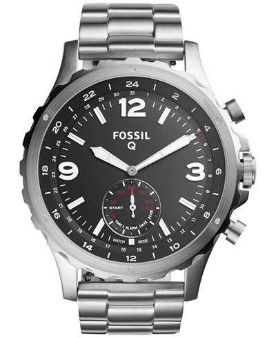 fossil q men s nate stainless steel bracelet hybrid smart watch fossil q men s nate stainless steel bracelet hybrid smart watch 50mm ftw1123