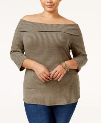 Monteau Trendy Plus Size Off-The-Shoulder Sweater