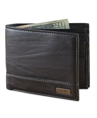 New Guess Men/'s Leather Credit Card Wallet  Billfold 31gu22x035 Brown