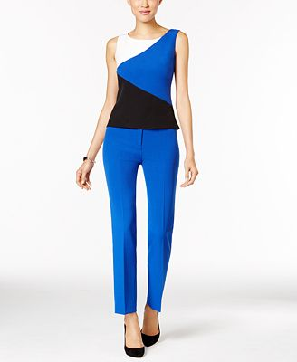 Kasper Stretch-Crepe Colorblocked Top & Straight-Leg Pants