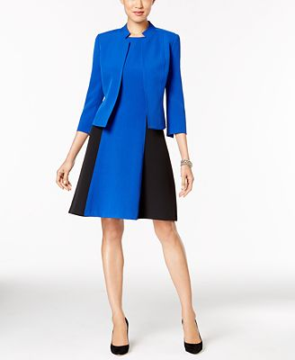 Kasper Stretch-Crepe Jacket & Colorblocked A-Line Dress