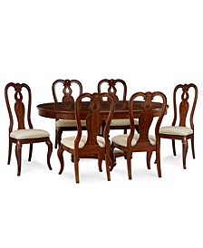 Closeout! Bordeaux Round Dining 7-Piece Set (Round Dining Pedestal Table & 6 Queen Anne Side Chairs)