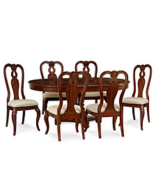 Bordeaux Round Dining Furniture, 7-Piece Set (Round Dining Pedestal Table & 6 Queen Anne Side Chairs)