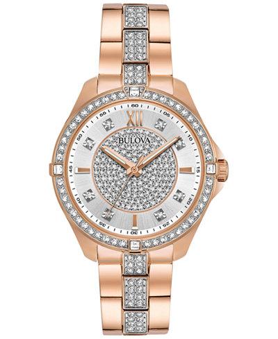 Bulova Women's Dress Crystal Rose Gold-Tone Stainless Steel Bracelet Watch 35mm 98L229