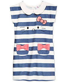 Hello Kitty Little Girls Striped Embroidered Dress
