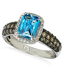 Le Vian Chocolatier® Signity Blue Topaz™ (1-1/5 ct. t.w.) and Diamond (3/4 ct. t.w.) Ring in 14k White Gold
