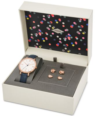 Image of Fossil Women's Jacqueline Blue Leather Strap Watch & Stud Earrings Box Set 36mm ES4140SET