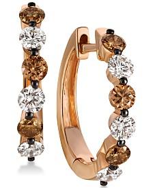 Le Vian Chocolatier® Diamond Hoop Earrings (1-1/10 ct. t.w.) in 14k Rose Gold