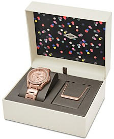 fossil watches macy s fossil women s riley rose gold tone stainless steel bracelet watch necklace box set 38mm
