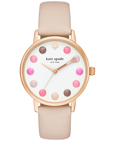 kate spade new york Women's Metro Vachetta Leather Strap Watch 34mm KSW1253