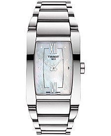 Women's Swiss Generosi-T Diamond Accent Stainless Steel Bracelet Watch 27mm T1053091111600