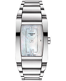 Tissot Women's Swiss Generosi-T Diamond Accent Stainless Steel Bracelet Watch 27mm T1053091111600