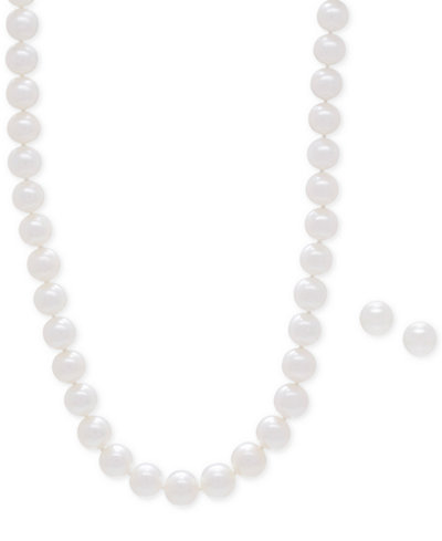 Cultured Freshwater Pearl Collar Necklace (9mm) and Matching Stud Earrings (8-1/2mm) Set