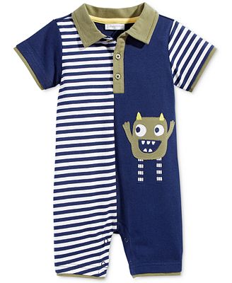 First Impressions Monster Striped Polo Romper, Baby Boys (0-24 months), Only at Macy's