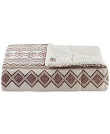Woolrich Anderson Reversible Oversized Faux-Fur to Berber Heated Throw