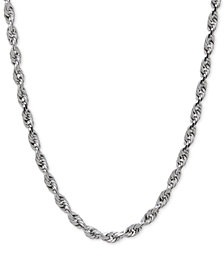 Rope Chain Necklace in Solid 10k White Gold