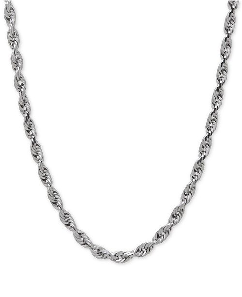 Macy's Rope Chain Necklace in Solid 10k White Gold