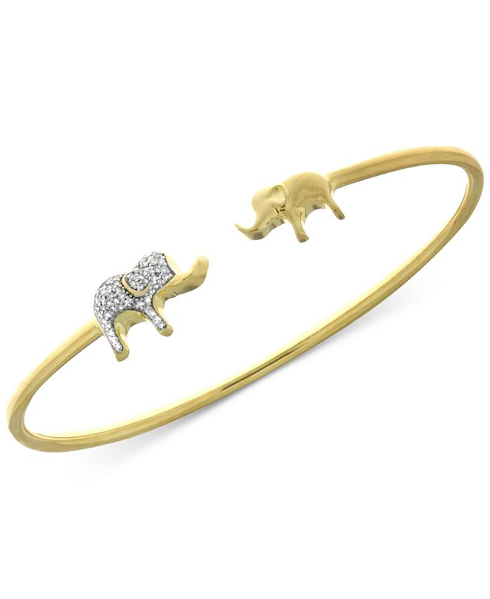 Wrapped - Diamond Elephant Open Bangle Bracelet (1/6 ct. t.w.) in Sterling Silver and 14k Gold-Plate