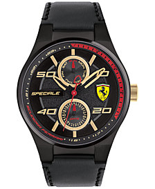 Ferrari Men's Speciale Multi Black Leather Strap Watch 44mm 0830418
