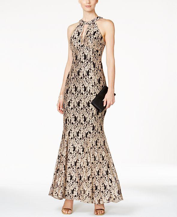 Nightway Lace Keyhole Mermaid Halter Gown