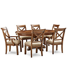 Mandara Expandable Round Furniture, 7-Pc. Set (Round Dining Trestle Table, 4 X-Back Side Chairs & 2 X-Back Arm Chairs)