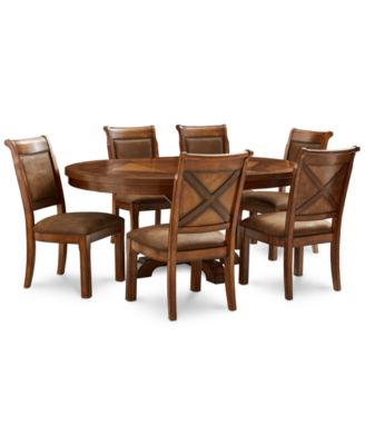 Mandara Round Expandable Furniture, 7 Pc. Set (Round Dining Trestle Table U0026