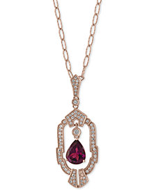 "EFFY® Garnet (1-3/8 ct. t.w.) and Diamond (1/3 ct. t.w.) 18"" Pendant Necklace in 14k Rose Gold"