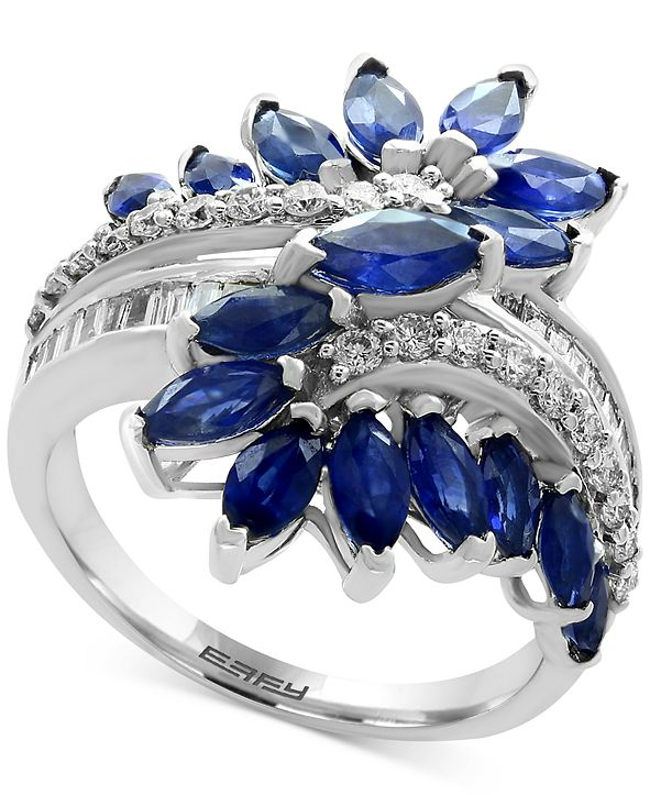 EFFY Collection EFFY® Sapphire  (3-1/5 ct. t.w.) & Diamond (3/8 ct. t.w.) Ring in 14k White Gold