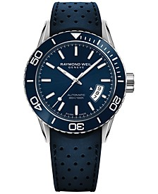 Men's Swiss Automatic Freelancer Blue Rubber Strap Watch 42mm 2760-SR3-50001