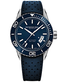 RAYMOND WEIL Men's Swiss Automatic Freelancer Blue Rubber Strap Watch 42mm 2760-SR3-50001