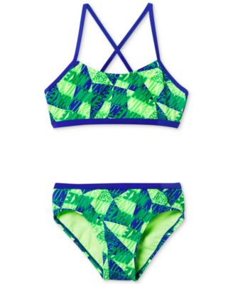 Image of Nike 2-Pc. Graphic Crossback Bikini Swimsuit, Big Girls (7-16)