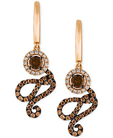 Le Vian Chocolatier® Diamond Swirl Drop Earrings (1-1/4 ct. t.w.) in 14k Rose Gold