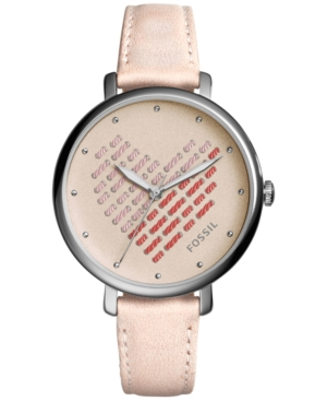 Fossil Women's Jacqueline Pink Leather Strap Watch 36mm ES41