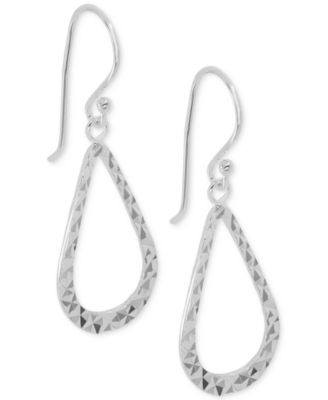 Image of Giani Bernini Sterling Silver Textured Open Teardrop Drop Earrings, Only at Macy's