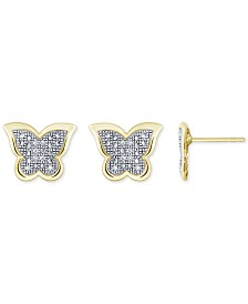 Diamond Accent Butterfly Stud Earrings in 10k Gold, White Gold or Rose Gold