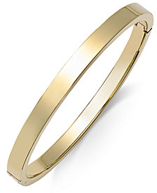 Polished Smooth Bangle Bracelet in Metallic Yellow Ion-Plated on Stainless Steel, Rose Ion-Plated on Stainless Steel, or Stainless Steel