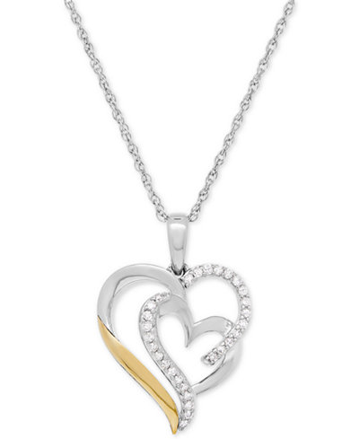 Diamond Heart Pendant Necklace (1/5 ct. t.w.) in Sterling Silver and 14k Gold