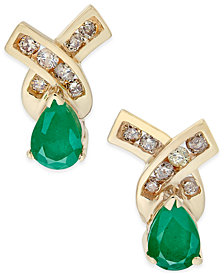 Emerald (3/4 ct. t.w.) and Diamond (1/4 ct. t.w.) Stud Earrings in 14k Gold