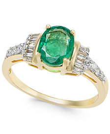 Emerald (1-1/3 ct. t.w.) and Diamond (1/4 ct. t.w.) Ring in 14k Gold