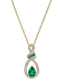 Certified Ruby (9/10 ct. t.w.) and Diamond (1/5 ct. t.w.) Pendant Necklace in 14k Yellow Gold (Also Available in Emerald)