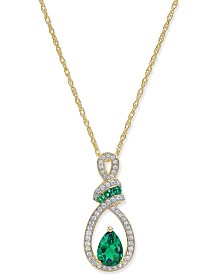 Emerald (3/4 ct. t.w.) and Diamond (1/5 ct. t.w.) Pendant Necklace in 14k Gold