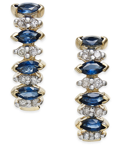 Sapphire (1 ct. t.w.) and Diamond (1/4 ct. t.w.) Drop Earrings in 14k Gold