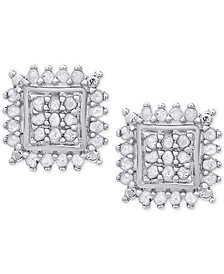 Diamond Square Stud Earrings (1/2 ct. t.w.) in Sterling Silver or 18k Gold-Plated Sterling Silver